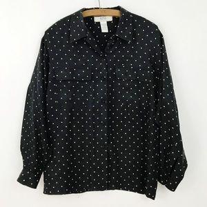 Silk Paisley Polka Dot Black Button Down Shirt